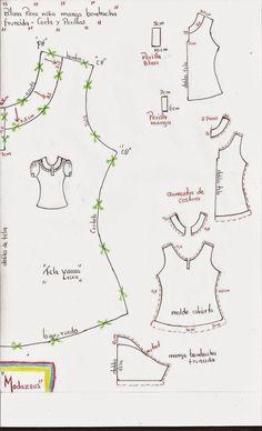 molderia de blusa para niñas con perilla y manga bombacha.!  #moda #moldes #blusas #modazeus
