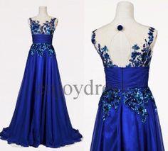 Custom Royal Blue Applique Long Prom Dresses