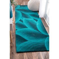 nuLOOM Handmade Leaves Turquoise Wool Runner Rug - x runner (Teal), Blue Turquoise Rug, Teal Rug, Turquoise Home Decor, Bedroom Turquoise, Coastal Rugs, Coastal Decor, Rug Shapes, Rugs Usa, Contemporary Rugs
