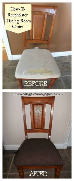How-To Reupholster Dining Room Chairs - @Brandy Waterfall Schippers I could totally rock this!