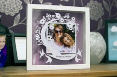 papercut gift, papercut photo frame, gift for mum, birthday gift, personalised paper cut gift, framed papercut by EdwardsScissorhands on Etsy