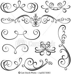Vector - Calligraphic elements - stock illustration, royalty free illustrations, stock clip art icon, stock clipart icons, logo, line art, EPS picture, pictures, graphic, graphics, drawing, drawings, vector image, artwork, EPS vector art