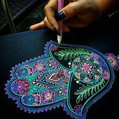 Neon Hamsa final touches for an art commission ❤ what so you guys think? Mandala Drawing, Mandala Painting, Dot Painting, Drawing Art, Hamsa Painting, Gel Pen Art, Gel Pens, Dibujos Zentangle Art, Hamsa Art