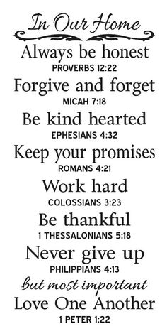 Would like to do this on my big chalkboard . Primitive STENCIL In Our Home Family Rules with Bible Verse The Words, Forgive And Forget, Bible Scriptures, Scripture Verses, Bible Verses For Kids, Bible Verse Signs, Biblical Verses, Bible Verses For Hard Times, Bible Study For Kids