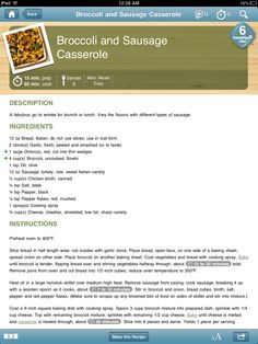 WW Broccoli and Sausage Casserole