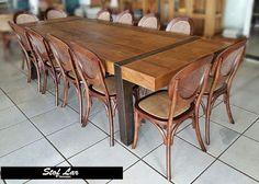 Stof Lar Decorações - Móveis em Madeira de Demolição : Mesa Retangular Com pé de Ferro e Cadeiras Elysee