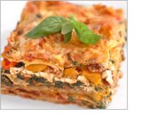 Spinach, pumpkin, walnut, basil and ricotta lasagna
