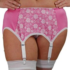 Premier Lingerie 6 Strap Garter/Suspender Belt (SSL66 )Pink with White Lace.