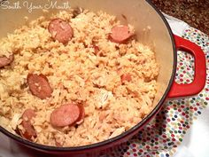 Chicken Pilau with Sausage - use white meat as directed but keep wings whole, separate thigh and drumstick and bake them and add to rice