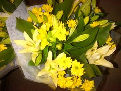 Mixed flower bouquet yellow Asiatic Lillies (AFG-Worldwide South-Africa) Flower Bouquets, Flowers, South Africa, Yellow, Plants, Floral Bouquets, Florals, Planters, Flower