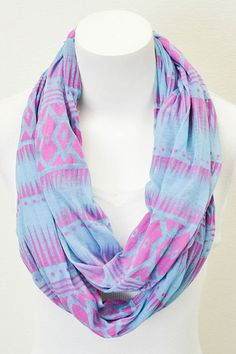 Blue Tribal Burnout Infinity Scarf. I love all tribal prints