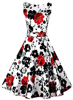 Dreagal Vintage 1950's Floral Spring Garden Party Picnic Dress Party Cocktail Dress -- Click on the image for additional details.