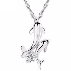LUNIA - dámsky náhrdelník s príveskom dvoch delfínov zaľúbencov, krištáľ: číry Necklace Sizes, Crystal Necklace, Pendant Necklace, Dolphin Jewelry, Krabi, Couple, Queen, Stone Pendants