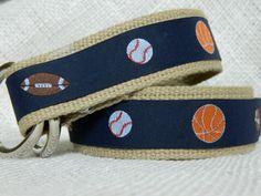Ribbon Belt/ Sport Belt/ Boys D-Ring Belt/ Mens' D-Ring Belt/ Canvas Belt/ Preppy Belt/ Military Belt/ Sport Balls on Khaki Webbing