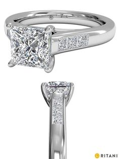 Princess Cut Diamond Engagement Ring in White Gold with Channel Set Diamond Band, by Ritani