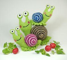 Shelley die Schnecke und Familie Crochet von mojimojidesign