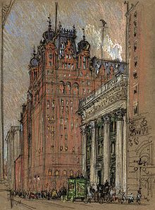 The Waldorf-Astoria at the original location, demolished for the erection of the Empire State Building. Rendering by Joseph Pennell, ca. 1904-1908.
