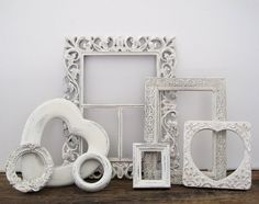White Open Picture Frame Set Of 7 Tiny Shabby Chic French Farmhouse Romantic Decor by SeaLoveAndSalt