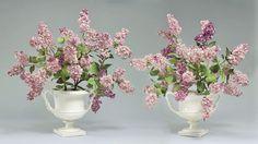"""A pair of Lilac arrangements - Porcelain, glazes, painted copper, Antique vases circa 1830s, 27"""" - Vladimir Kanevsky, Fine Porcelain"""