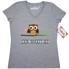 80th Birthday Look Whoos 80 Women's V-Neck T-shirt Athletic Heather $19.99 www.custombirthdaytshirts.com