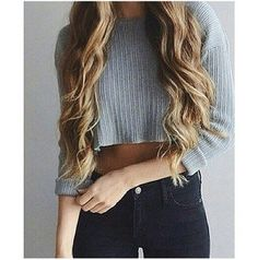sweater cropped sweater gray sweater high waisted skinny jeanss high waisted jeans tumblr outfit tumblr top tumblr girl on point clothing body goals skinny thinspo stylish style styled fashion inspo inspiration blouse