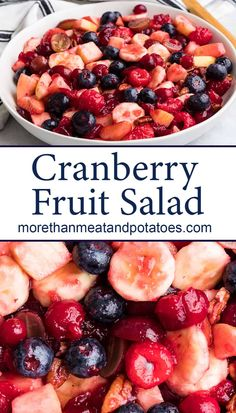 This tasty cranberry fruit salad features sweet mixed berries, ripe bananas, and plump grapes tossed with a tangy cranberry syrup. #morethanmeatandpotatoes