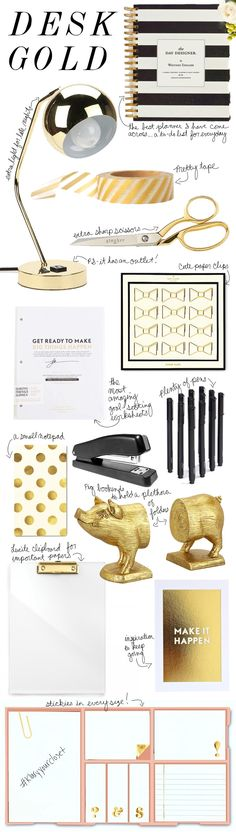 Gold Desk Accessories - add some pink and this would be perfect!
