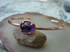 Amethyst Copper Cuff Bracelet