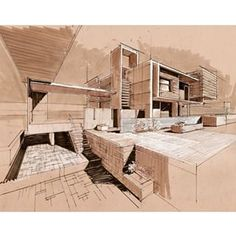 7 Modern House Plans Samples – Modern Home Colour Architecture, Architecture Student, Architecture Drawings, Art And Architecture, Building Sketch, Facade House, Built Environment, Urban Design, Hand Drawings