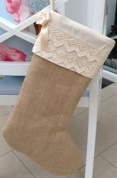 vintage christmas stocking made from good quality hessian and cotton lace