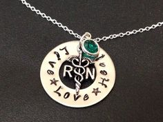 Hand Stamped Jewelry / RN necklace / Nurses / by Ashijewelers