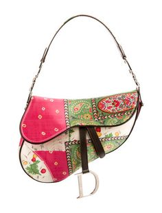 Christian Dior Satin Floral Print Saddle Bag