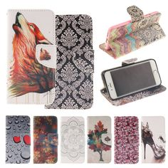 Cover Case for iPhone 4S 4, Dual Fashion Painting Flip Wallet Case for Apple iPhone4 4S Phone Coque Hoesjes PU Leather
