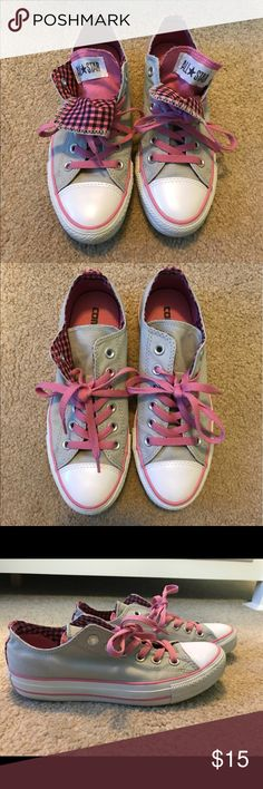 All Star Converse sneakers Pink and grey All Star converse sneakers. Like New! Only work a couple of times. Converse Shoes Sneakers