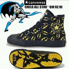 HTF Converse 12 kids Batman yellow black logo shoes high tops boys girls unisex