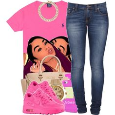 Slaying In Pink by polyvoreitems5 on Polyvore featuring polyvore fashion style Ralph Lauren Nudie Jeans Co. MICHAEL Michael Kors Wet Seal Michael Kors NIKE