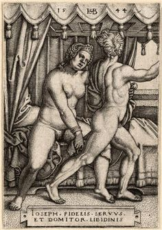 Joseph and Potiphar's Wife (Joseph und Potiphars Frau), engraving by Hans Sebald Beham 1544; Dresden (SKD), Germany