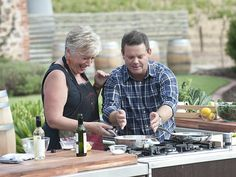 Growing the family . Maggie Beer and Gary Mehigan on MasterChef in the Barossa. Gary Mehigan, Masterchef Australia, Secrets Revealed, New Series, The Secret, Chefs, Beer, Lifestyle, Root Beer