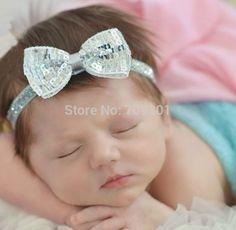 Silver bow Baby Headband, Newborn Headband, Christmas Headband 20PCS/LOT