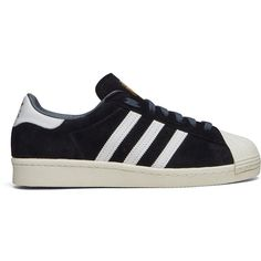 Adidas Superstar 80's Black Deluxe ($150) ❤ liked on Polyvore featuring shoes, sneakers, sapatos, zapatos, adidas, black low top sneakers, adidas footwear, adidas shoes and low top