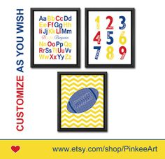 boy nursery wall art football and alphabet nursery print nursery decor baby shower gift rugby kids wall art ABC poster numbers letter is for by PinkeeArt, $22.50