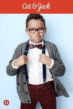 Make sure the boys look smart for every family get-together with Cat & Jack's new holiday collection. A plaid bow tie and suspenders are perfect for family photos and parties, while the grey sweater keeps the look cool. Plus, they're all backed by Cat & Jack's one year guarantee*, so these pieces can be worn again and again this winter. *with receipt.