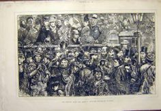 Antique Print of Sketch Clapham Derby Races Crowd Old Print 1872