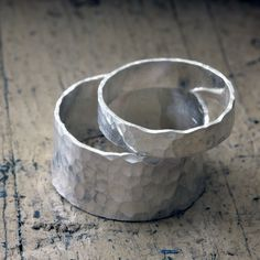 Wedding Ring Set Hammered Bands from Praxis Jewelry