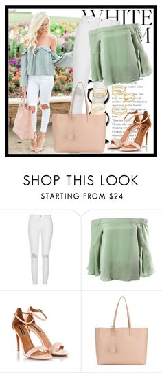 """""""524. White Denim"""" by diana97-i ❤ liked on Polyvore featuring River Island, Sans Souci, Fratelli Karida, Yves Saint Laurent and Charlotte Russe"""