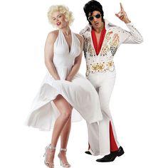 Hallowen Costume Couples Marilyn Monroe and Elvis Presley Marylin Monroe, Fantasia Marilyn Monroe, Estilo Marilyn Monroe, Marilyn Monroe Costume, Fairy Halloween Costumes, Cute Halloween Costumes, Couple Halloween, Halloween Cosplay, Halloween Ideas