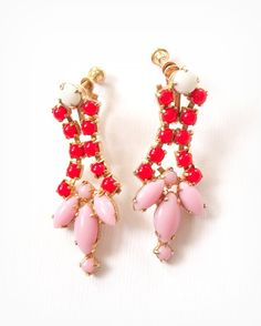 Vintage Earrings Pink Jewelry Pink Red and by BlueSparrowVintage, $42.00