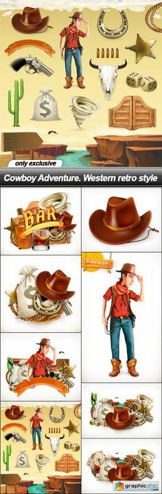 Cowboy Adventure. Western retro style - 8 EPS