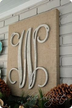 Burlap canvas  wooden letter Would be perfect for the side patio!