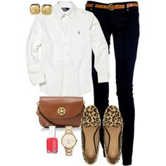 Casual leopard ... cute ... maybe some   mint or coral, instead of the red nail polish? and matching   earrings.